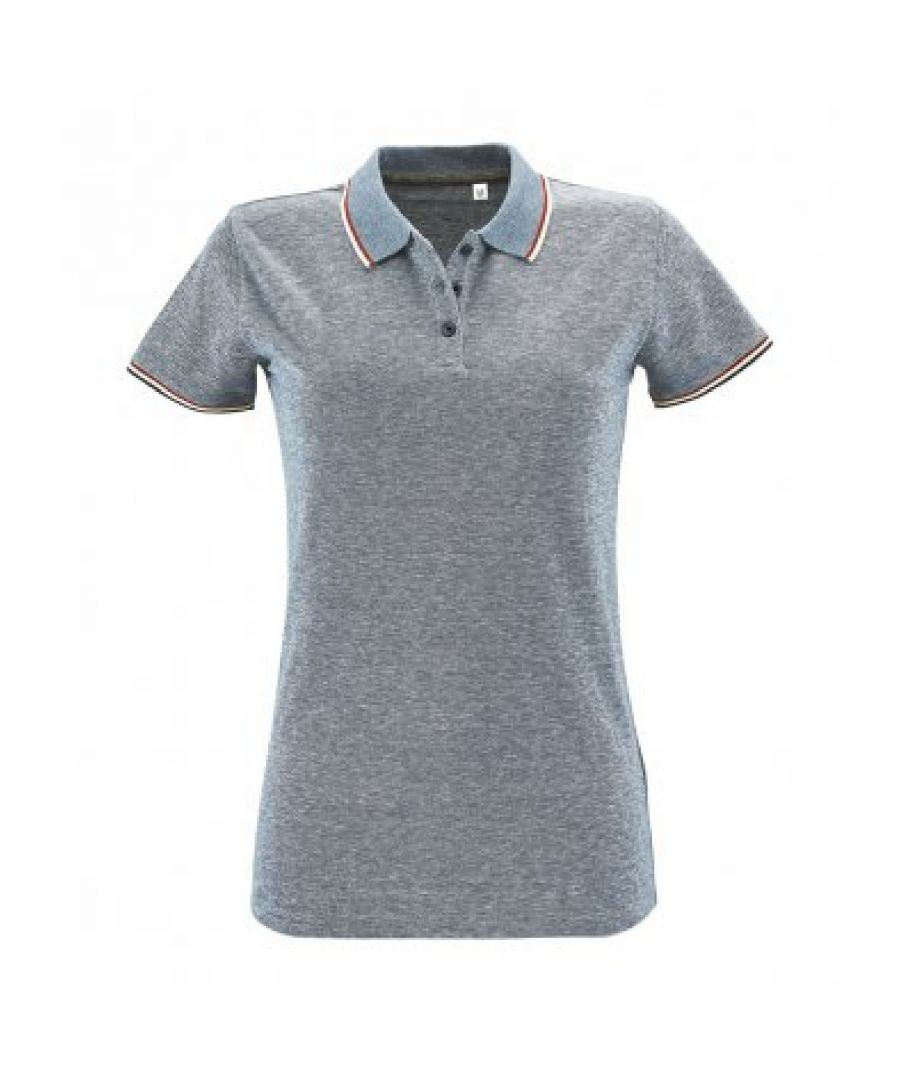 Image for SOLS Womens/Ladies Paname Heather Piqu Polo Shirt (Heather Light Jeans)