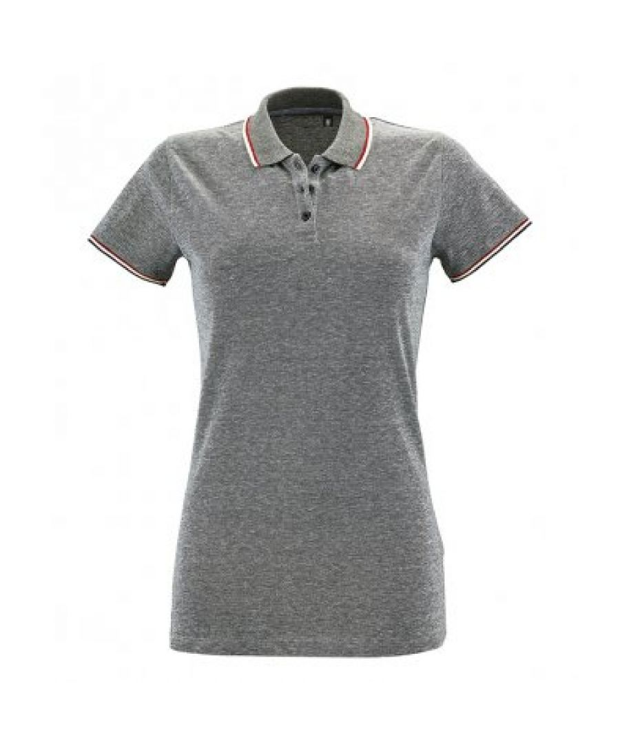 Image for SOLS Womens/Ladies Paname Heather Piqu Polo Shirt (Heather Black)