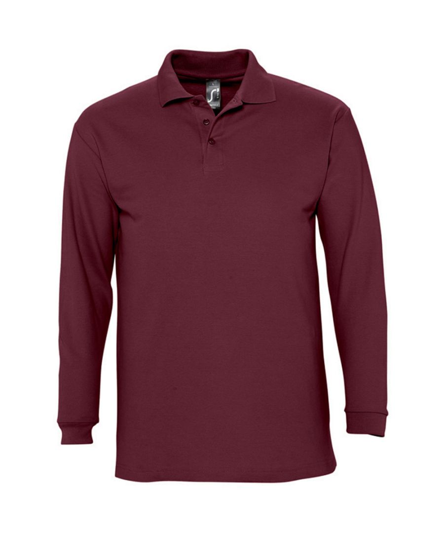 Image for SOLS Mens Winter II Long Sleeve Pique Cotton Polo Shirt (Burgundy)