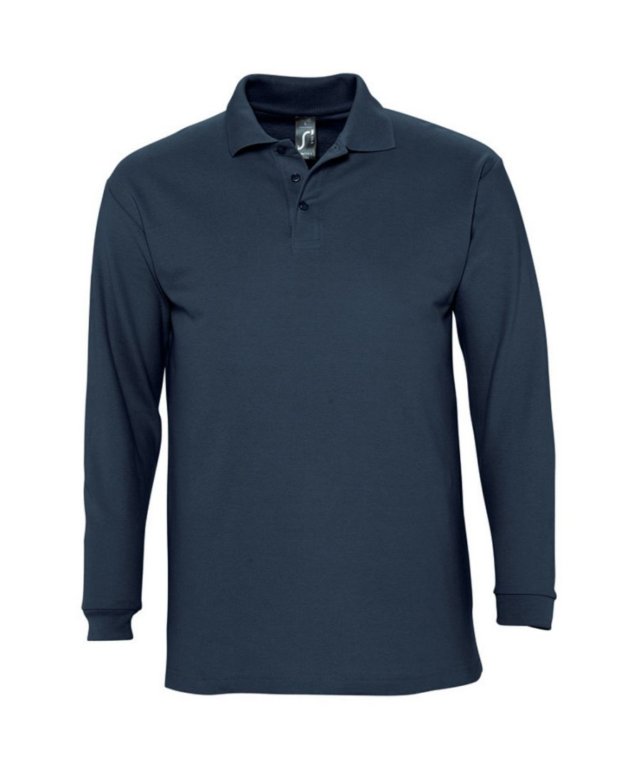 Image for SOLS Mens Winter II Long Sleeve Pique Cotton Polo Shirt (Navy)