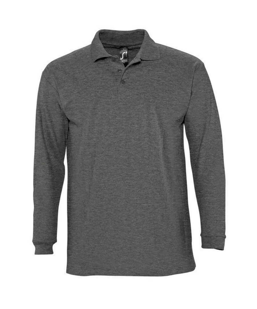 Image for SOLS Mens Winter II Long Sleeve Pique Cotton Polo Shirt (Charcoal Marl)