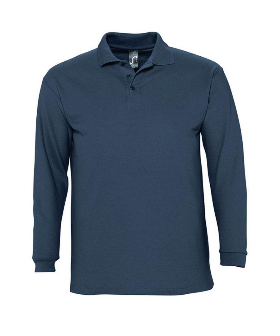 Image for SOLS Mens Winter II Long Sleeve Pique Cotton Polo Shirt (Denim)