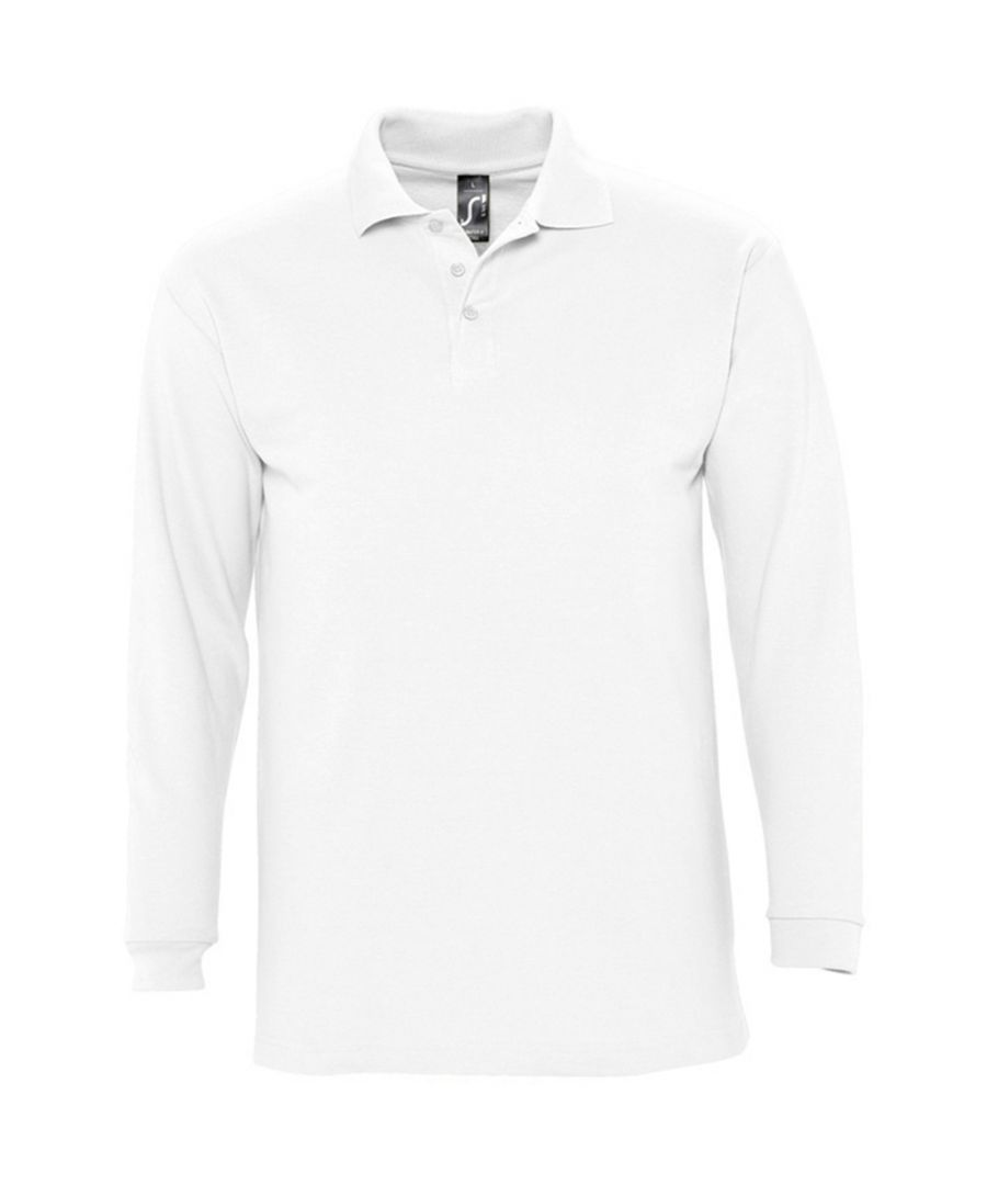 Image for SOLS Mens Winter II Long Sleeve Pique Cotton Polo Shirt (White)