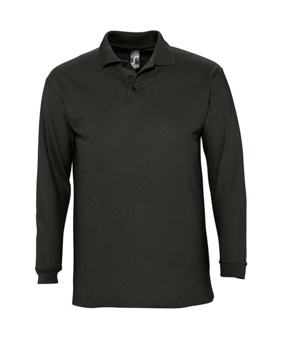 Image for SOLS Mens Winter II Long Sleeve Pique Cotton Polo Shirt (Black)