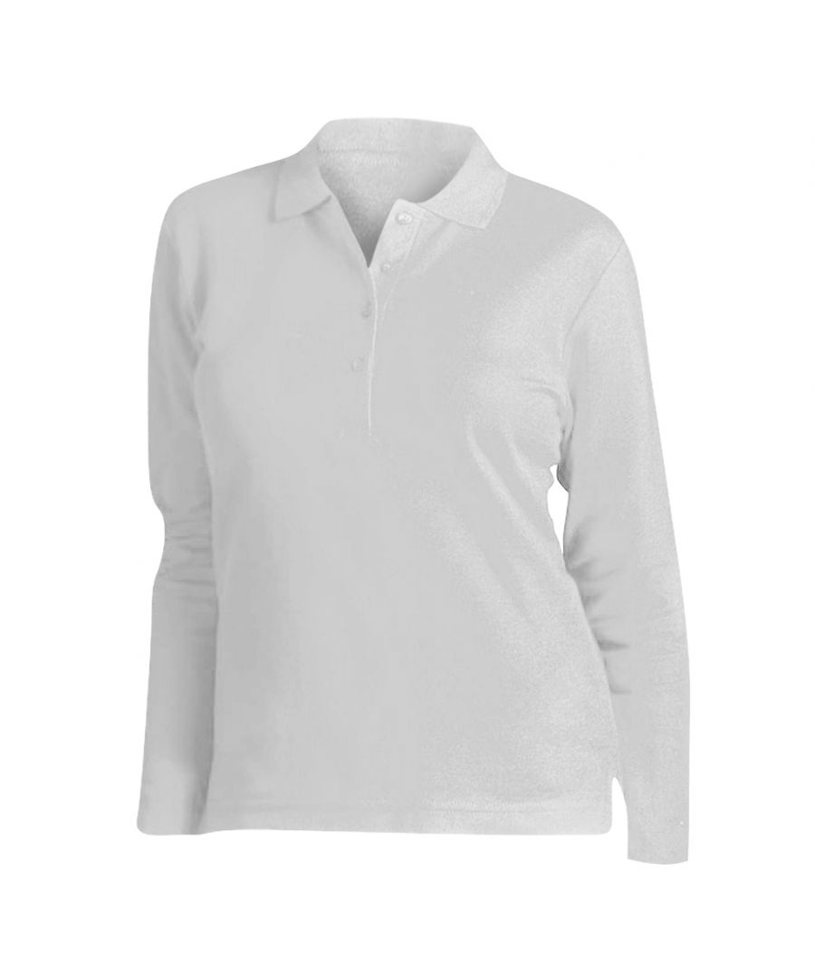 Image for SOLS Womens/Ladies Podium Long Sleeve Pique Cotton Polo Shirt (White)
