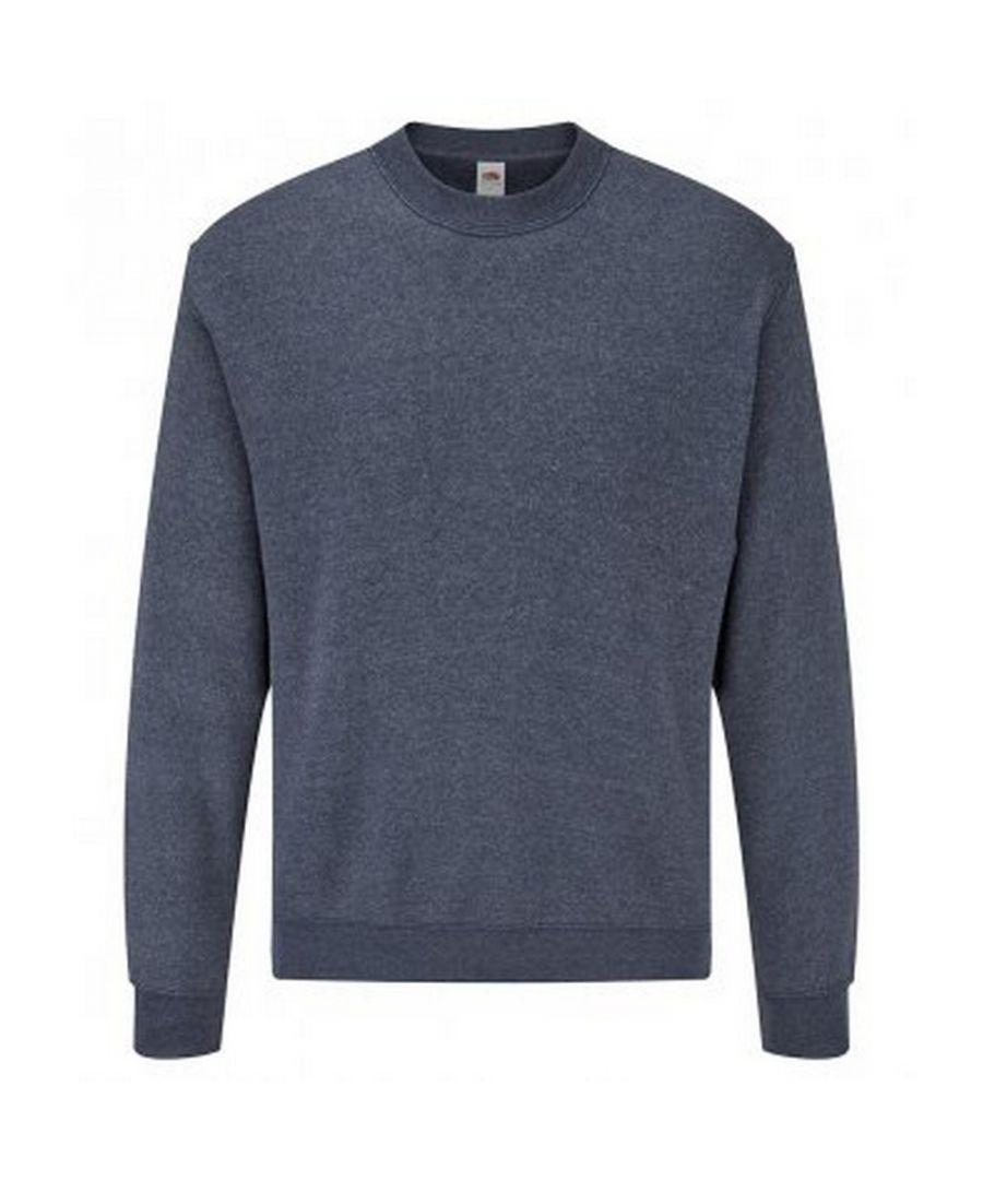 Image for Fruit Of The Loom Mens Classic Drop Shoulder Sweatshirt (Heather Navy)