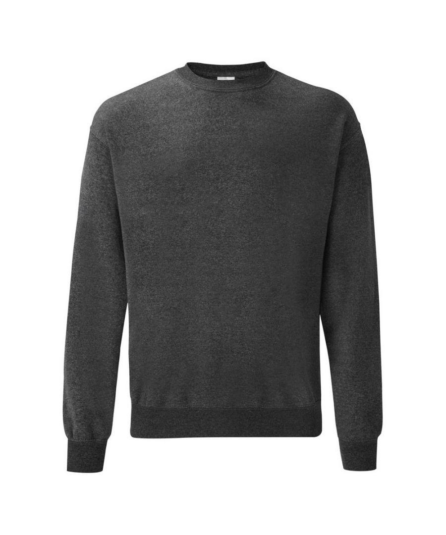 Image for Fruit Of The Loom Mens Classic Drop Shoulder Sweatshirt (Dark Heather)