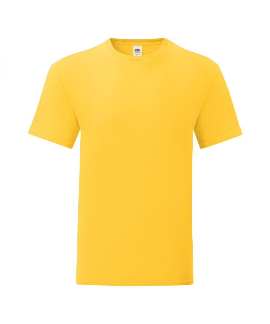 Image for Fruit Of The Loom Mens Iconic T-Shirt (Pack of 5) (Sunflower Yellow)
