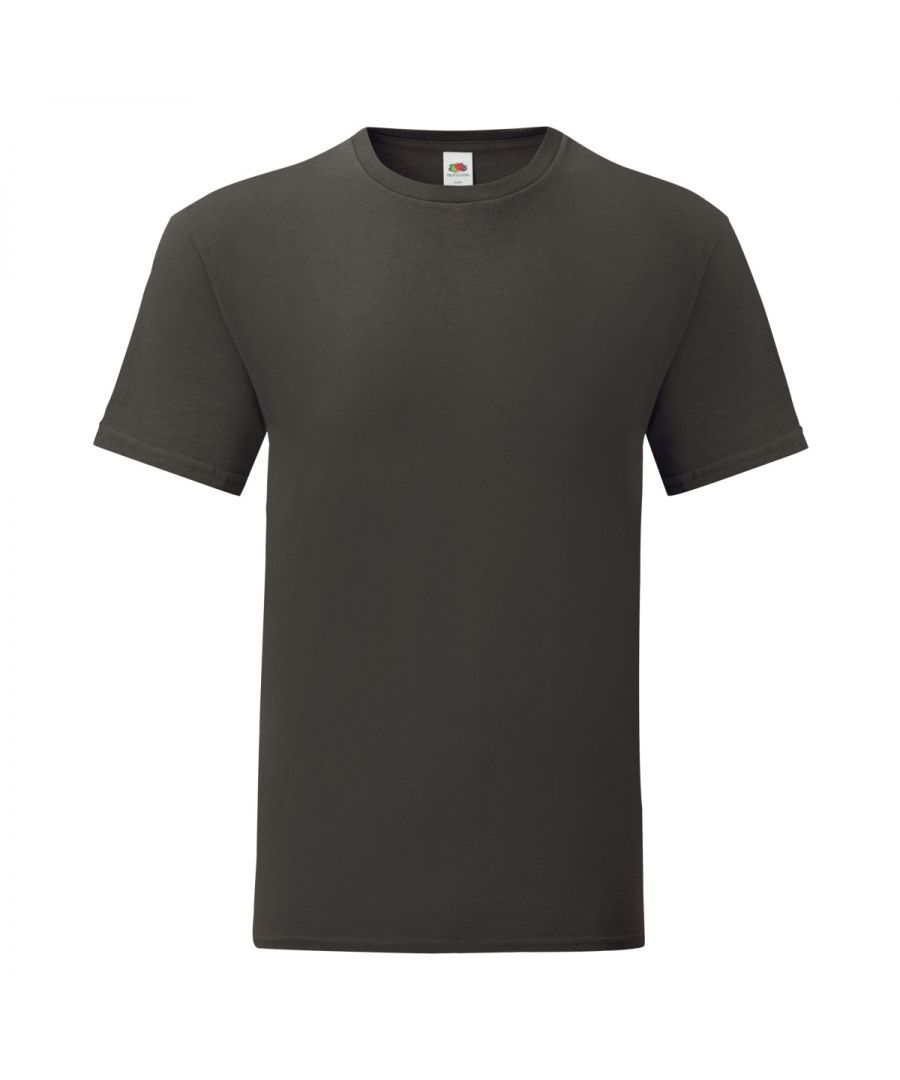 Image for Fruit Of The Loom Mens Iconic T-Shirt (Pack of 5) (Light Graphite Grey)