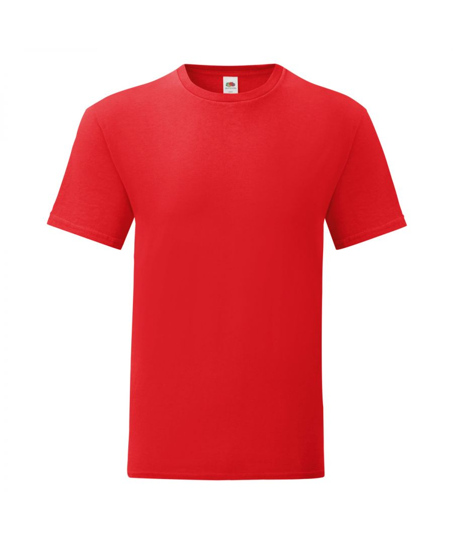 Image for Fruit Of The Loom Mens Iconic T-Shirt (Pack of 5) (Red)