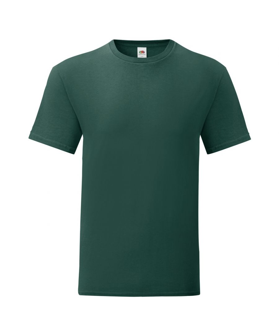 Image for Fruit Of The Loom Mens Iconic T-Shirt (Pack of 5) (Forest Green)