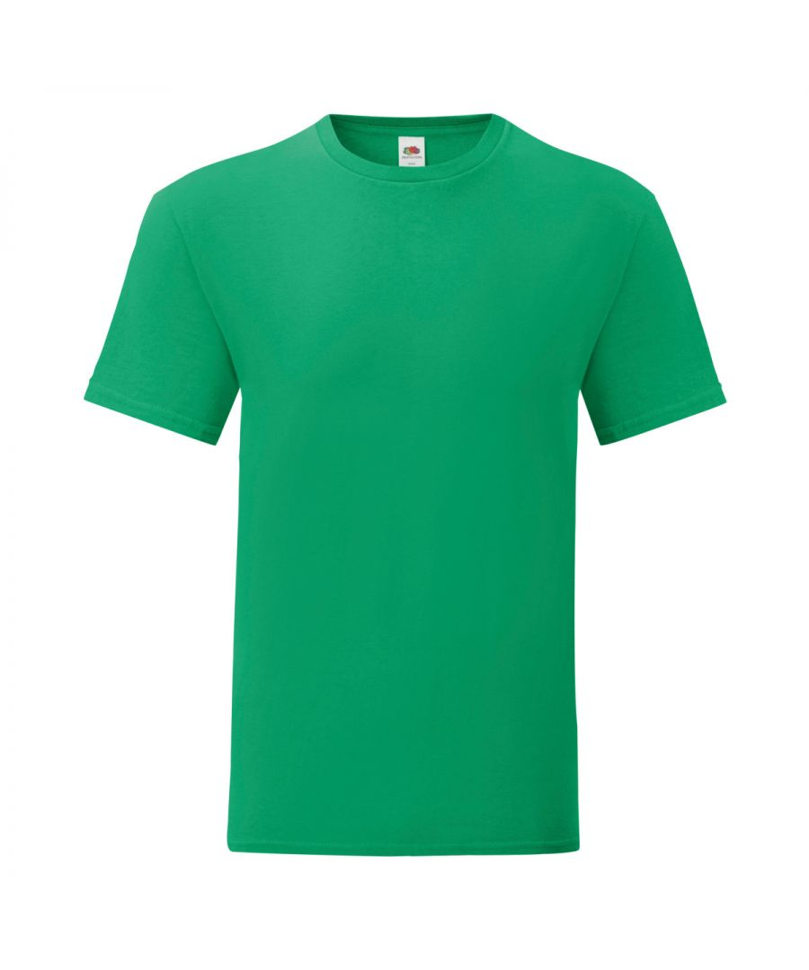 Image for Fruit Of The Loom Mens Iconic T-Shirt (Pack of 5) (Kelly Green)