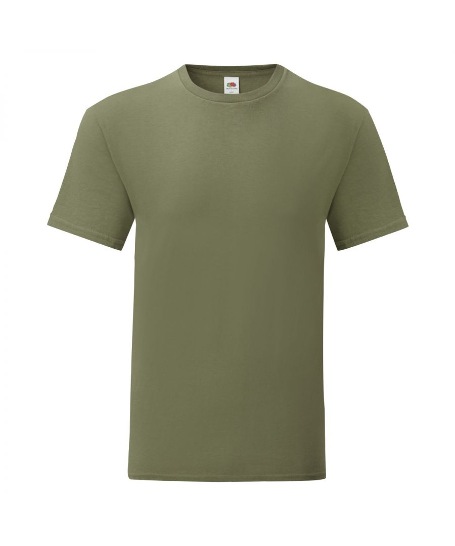 Image for Fruit Of The Loom Mens Iconic T-Shirt (Pack of 5) (Classic Olive Green)