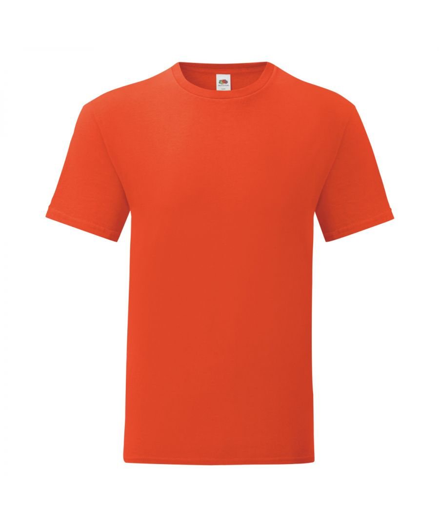 Image for Fruit Of The Loom Mens Iconic T-Shirt (Pack of 5) (Flame Orange)