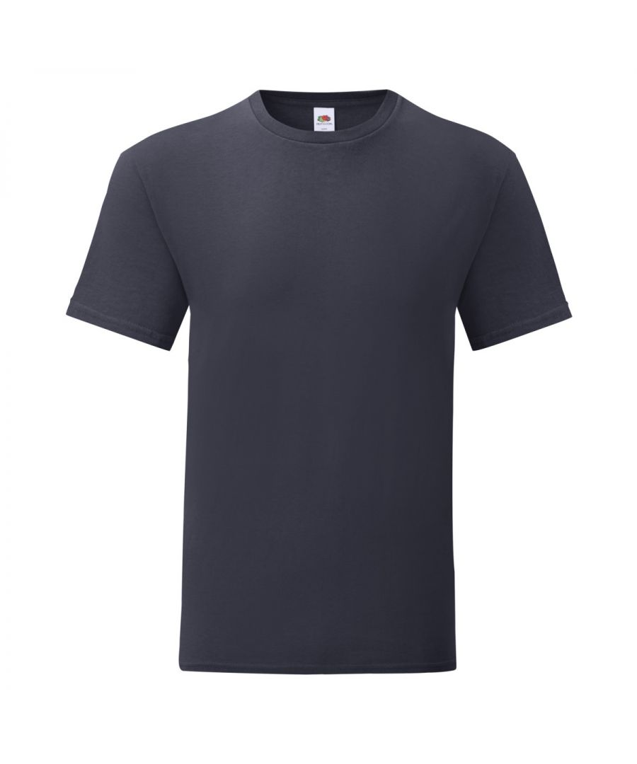 Image for Fruit Of The Loom Mens Iconic T-Shirt (Pack of 5) (Deep Navy)