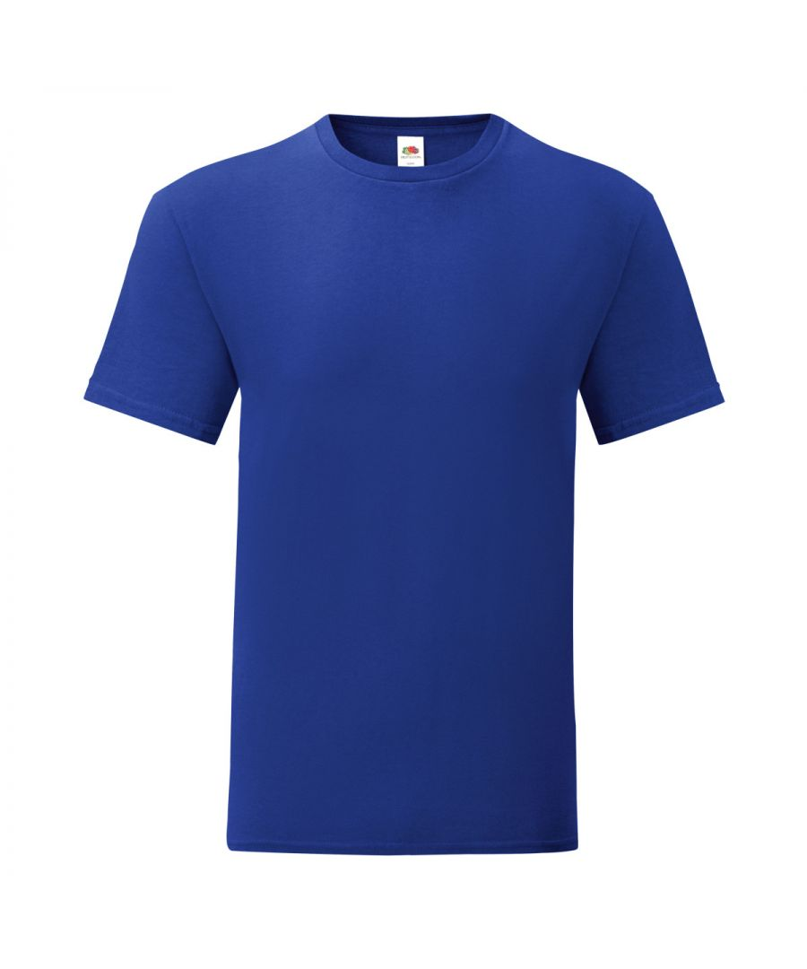 Image for Fruit Of The Loom Mens Iconic T-Shirt (Pack of 5) (Cobalt Blue)