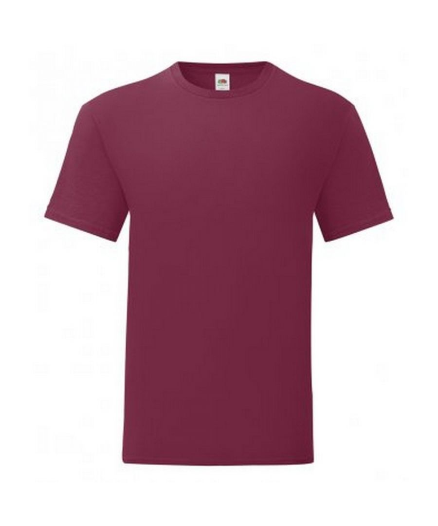 Image for Fruit Of The Loom Mens Iconic T-Shirt (Pack of 5) (Burgundy)