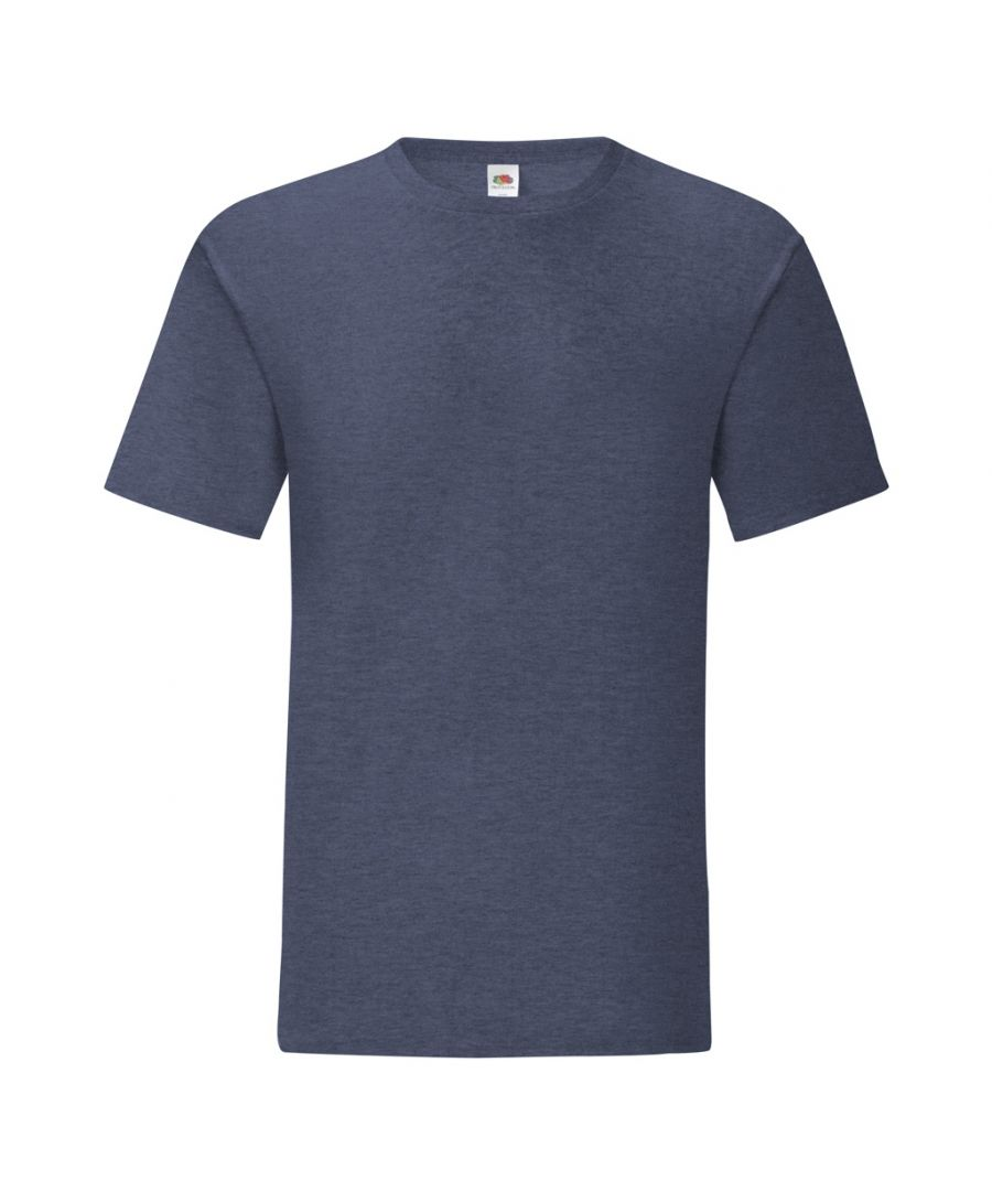 Image for Fruit Of The Loom Mens Iconic T-Shirt (Pack of 5) (Heather Navy)