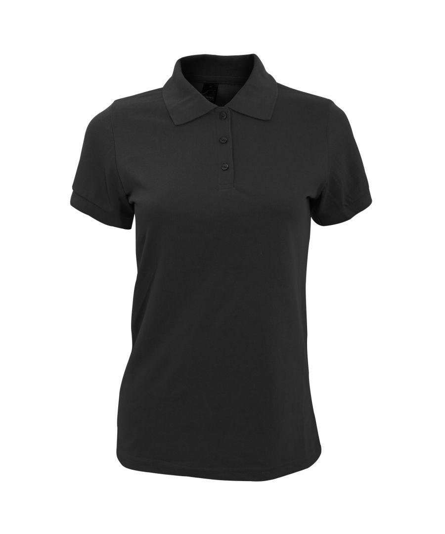 Image for SOLs Womens/Ladies Prime Pique Polo Shirt (Black)