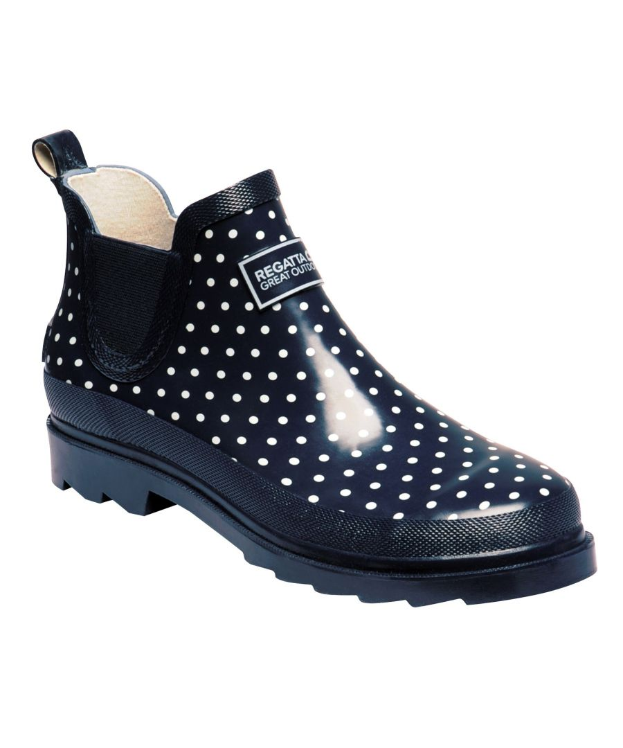 Image for Regatta Great Outdoors Womens/Ladies Harper Low Cut Wellington Boots (Navy Polka)