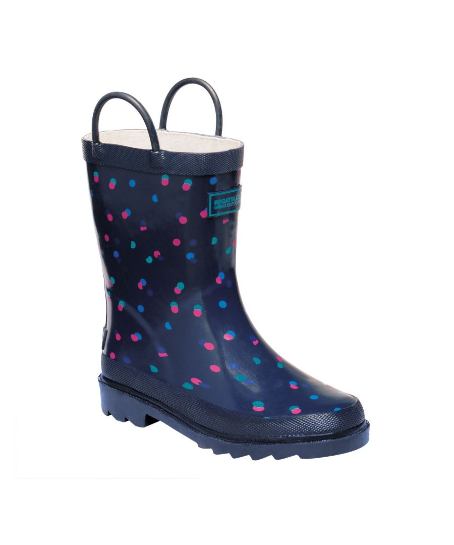 Image for Regatta Great Outdoors Childrens/Kids Minnow Patterned Wellington Boots (Navy)