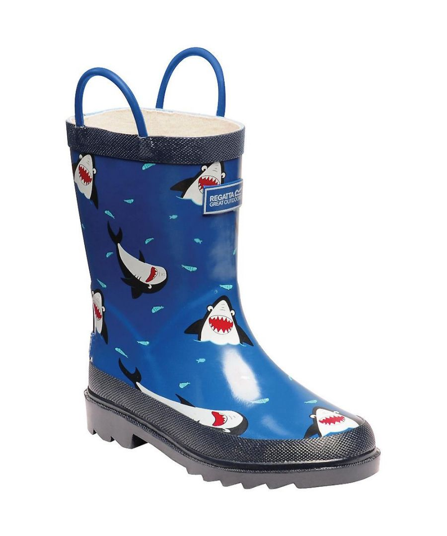 Image for Regatta Great Outdoors Childrens/Kids Minnow Patterned Wellington Boots (Sharks/Nautic)
