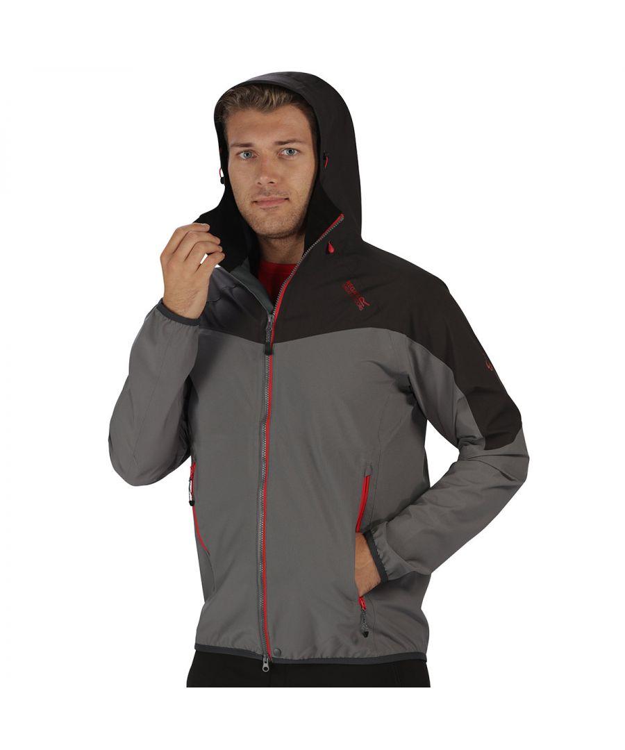 Image for Regatta Great Outdoors Mens Imber II Lightweight Waterproof Jacket (Magma Orange/Burnt Tikka Red)