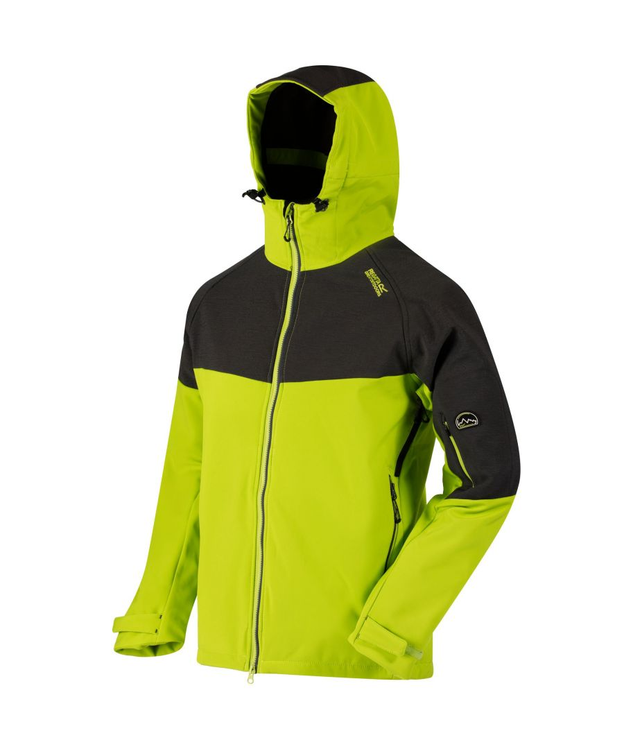 Image for Regatta Great Outdoors Mens Hewitts III Wind Resist Softshell Hooded Reflective Jacket