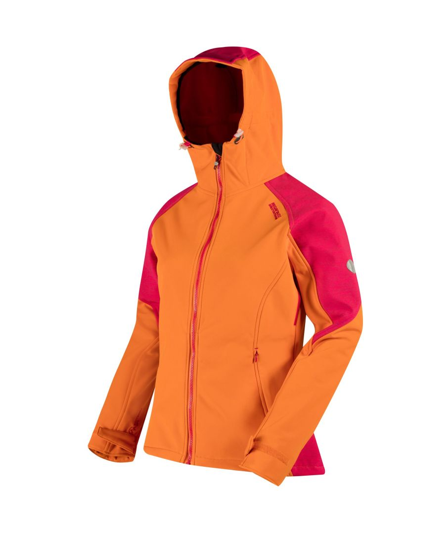 Image for Regatta Great Outdoors Womens/Ladies Desoto III Wind Resist Hooded Softshell Reflective Jacket