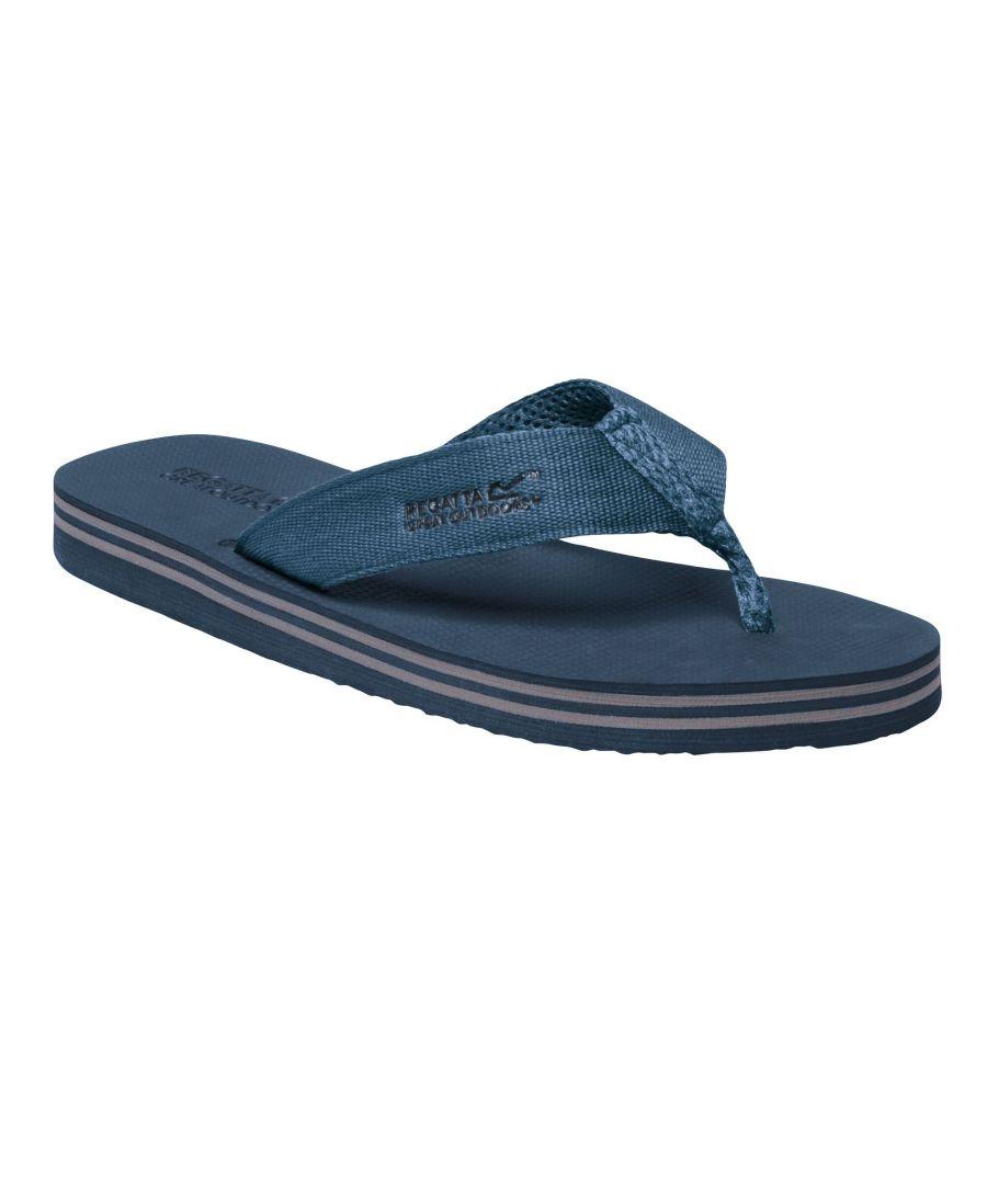 Image for Regatta Mens Rico Flip Flops (Seal Grey/Stellar Blue)