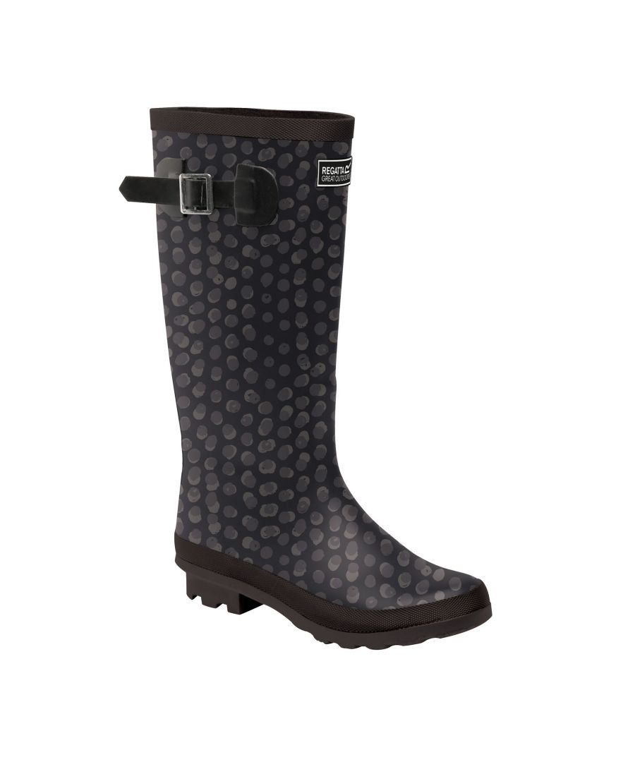 Image for Regatta Womens/Ladies Ly Fairweather II Tall Durable Wellington Boots (Black Print)