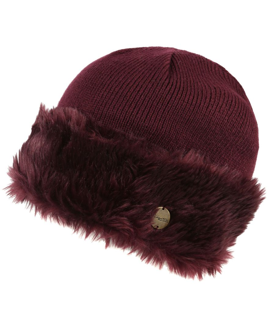 Image for Regatta Womens/Ladies Luz Faux Fur Trim Cotton Jersey Winter Beanie Hat