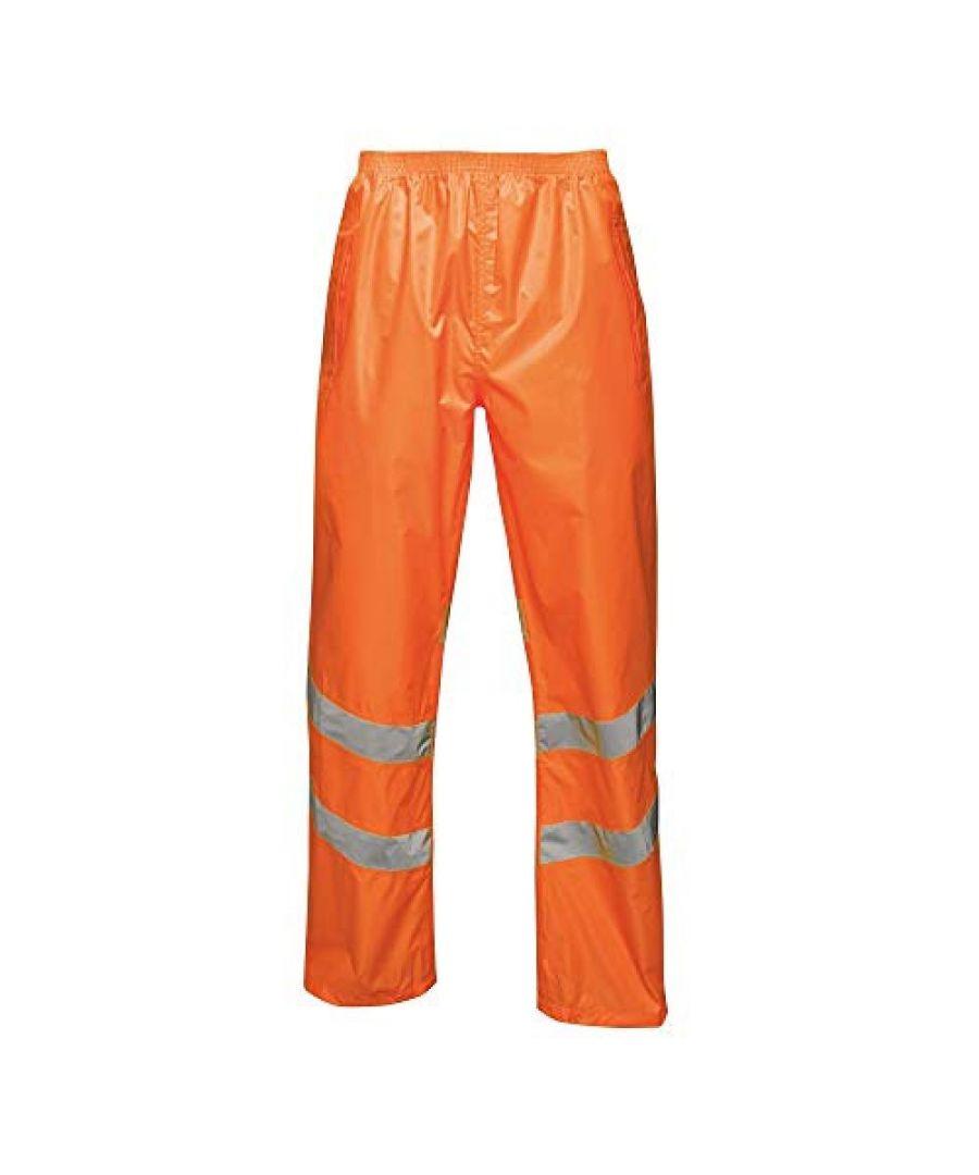 Image for Regatta Unisex Hi Vis Pro Reflective Packaway Work Over Trousers