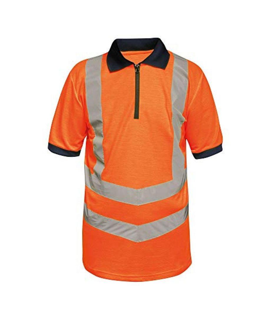 Image for Regatta Mens Hi Vis Pro Reflective Work Polo Shirt (Orange/Navy)