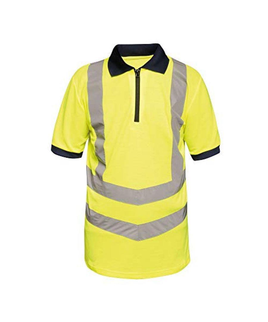 Image for Regatta Mens Hi Vis Pro Reflective Work Polo Shirt (Yellow/Navy)