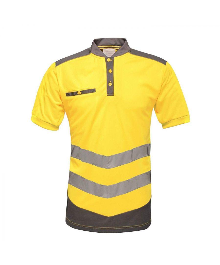 Image for Regatta Mens Tactical Hi Vis Polo Shirt (Yellow/Grey)