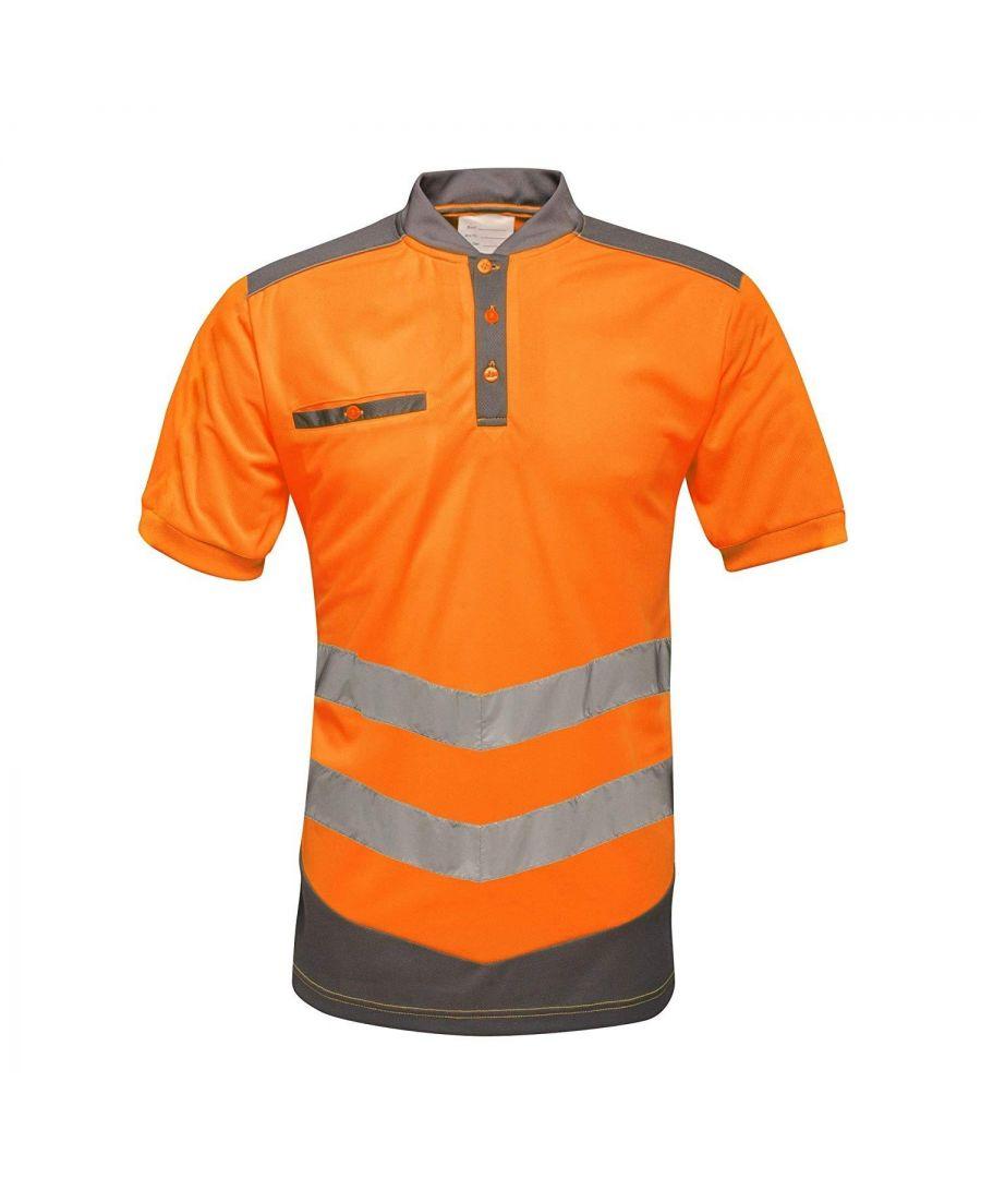 Image for Regatta Mens Tactical Hi Vis Polo Shirt (Orange/Grey)