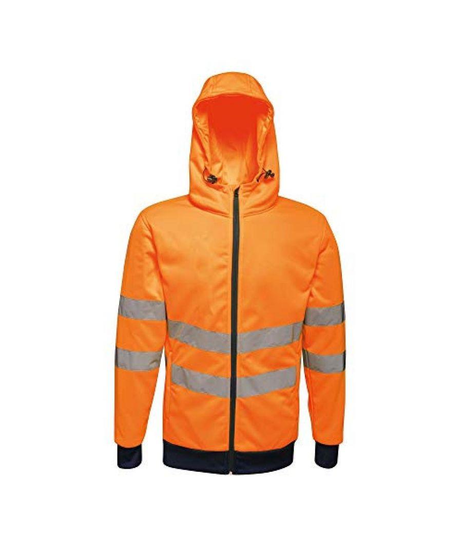 Image for Regatta Mens Hi Vis Pro Full Zip Stretch Reflective Hoodie (Orange/Navy)