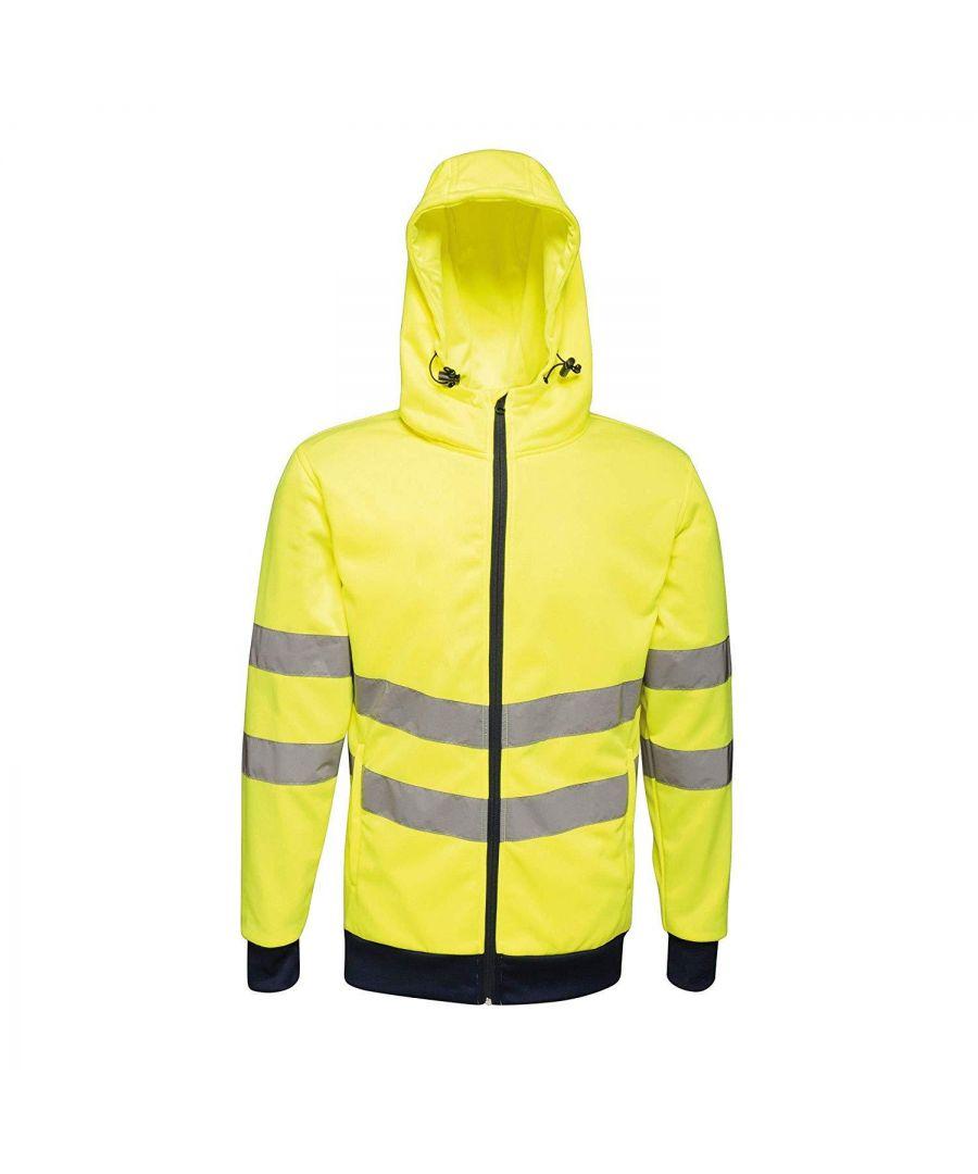 Image for Regatta Mens Hi Vis Pro Full Zip Stretch Reflective Hoodie (Yellow/Navy)