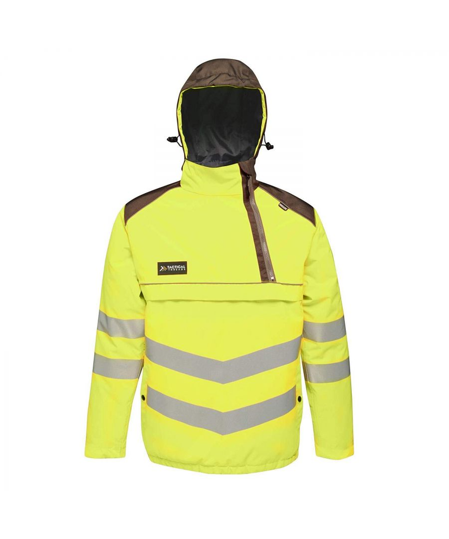Image for Regatta Mens Tactical Hi Vis Waterproof Reflective Overhead Bomber Jacket (Yellow/Grey)
