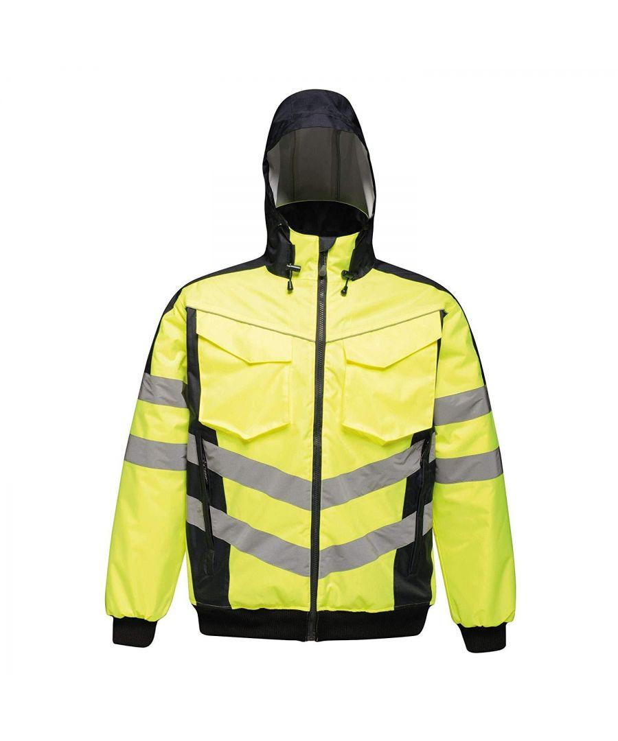 Image for Regatta Mens Hi Vis Pro Reflective Bomber Jacket