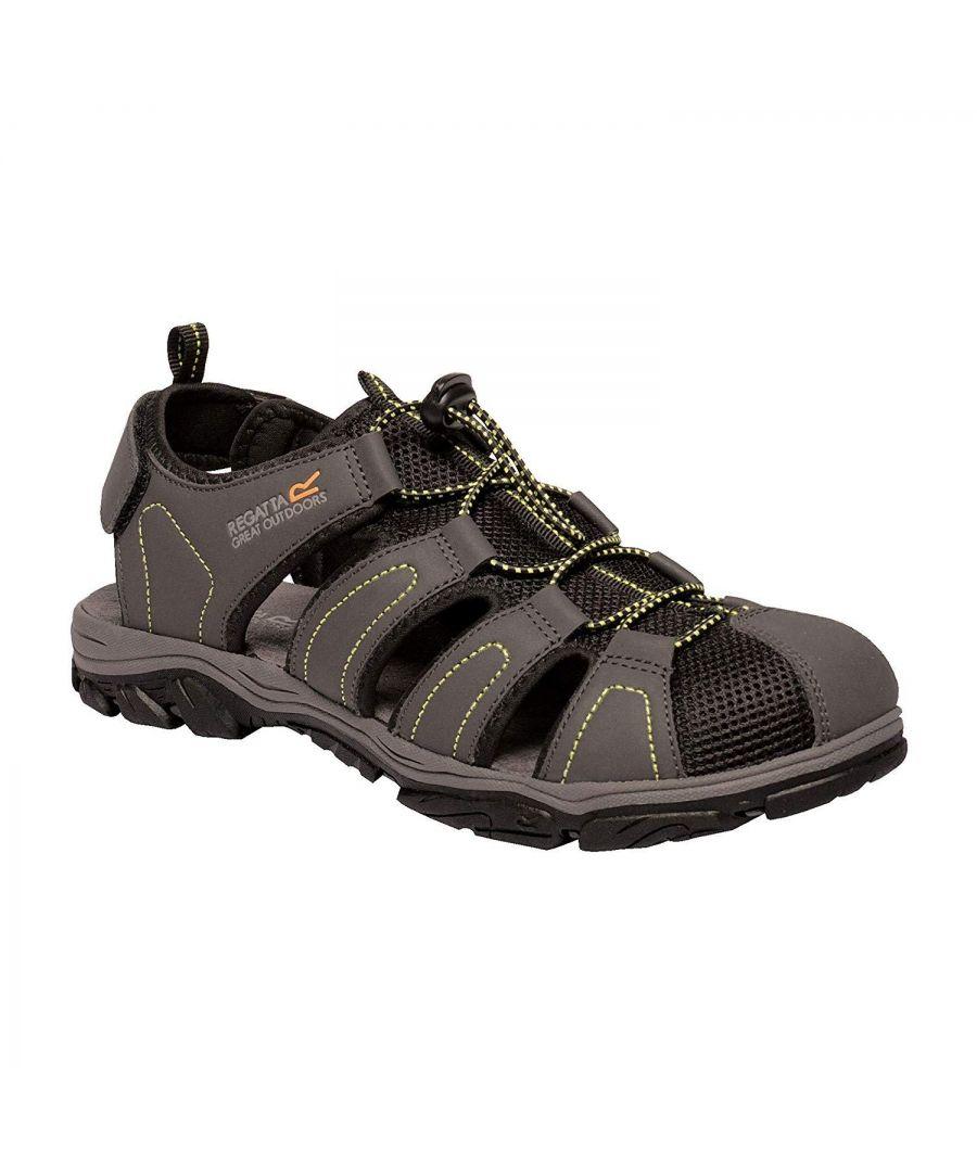 Image for Regatta Mens Westshore II Closed Toe Sandals (Briar Grey/Lime Punch)