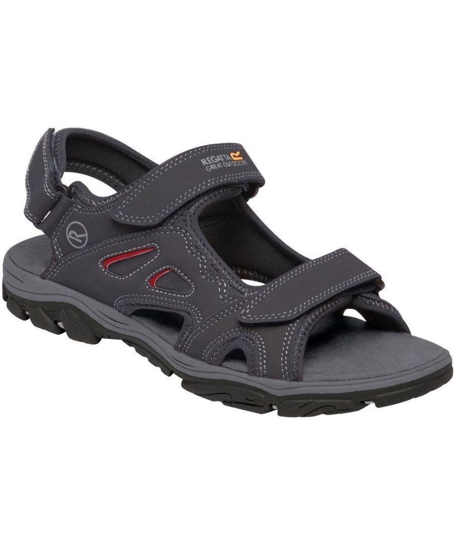 Image for Regatta Mens Holcombe Vent Sandals (Ash/Rio Red)
