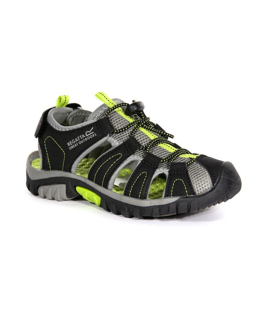 Image for Regatta Childrens/Kids Westshore Sandals (Black/Lime Green)