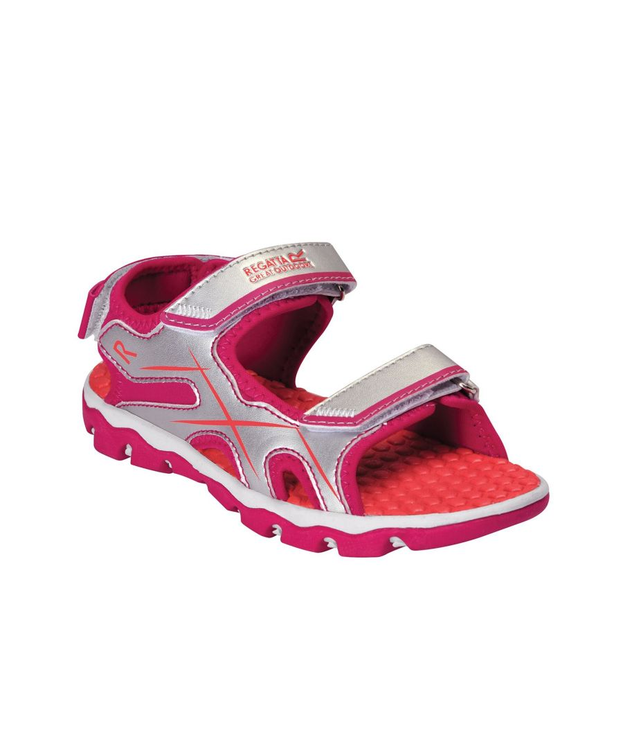 Image for Regatta Childrens/Kids Kota Drift Sandals (Silver/Duchess Pink)