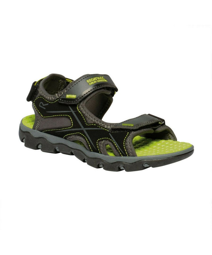 Image for Regatta Childrens/Kids Kota Drift Sandals (Briar Grey/Lime Punch)