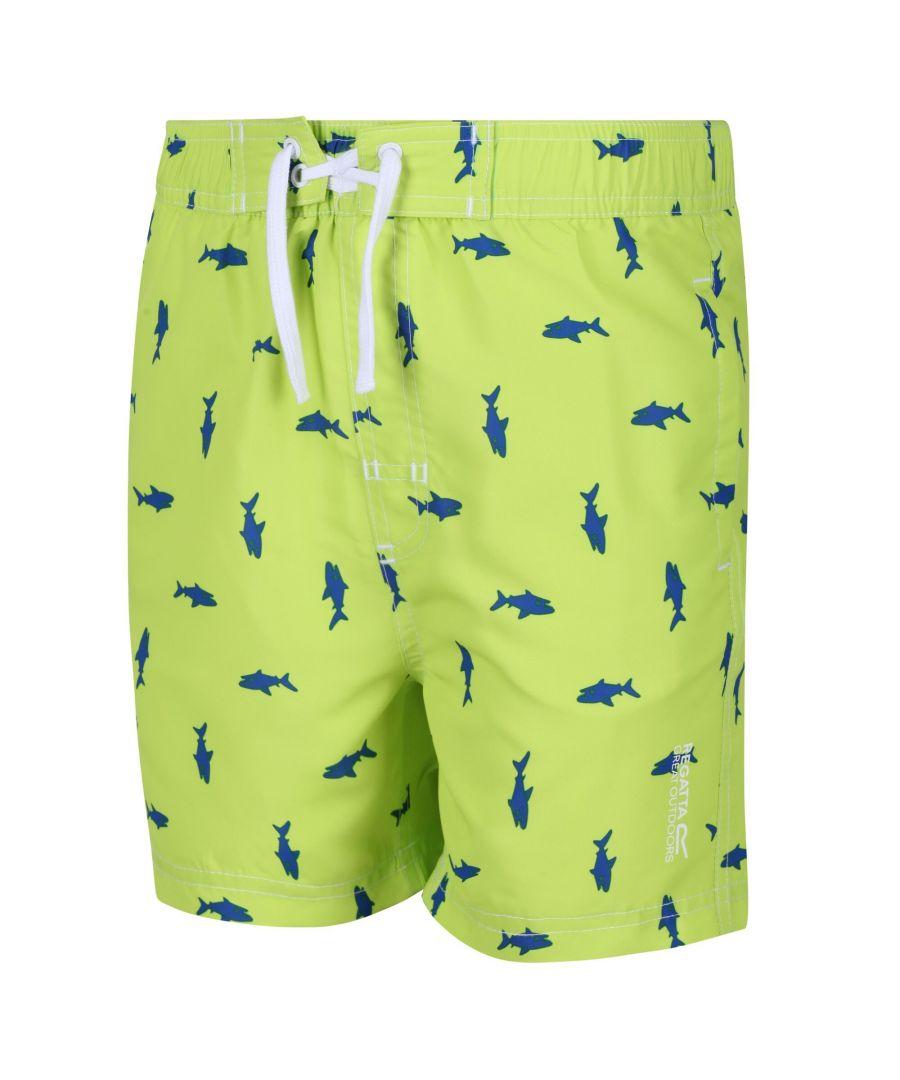 Image for Regatta Kids Skander II Quick Drying Swim Shorts (Electric Lime Shark Print)