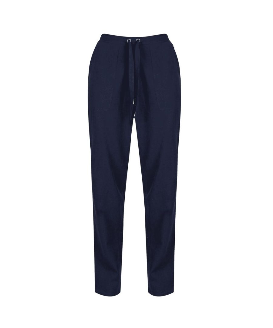 Image for Regatta Womens/Ladies Quanda Coolweave Cotton Trousers (Navy)