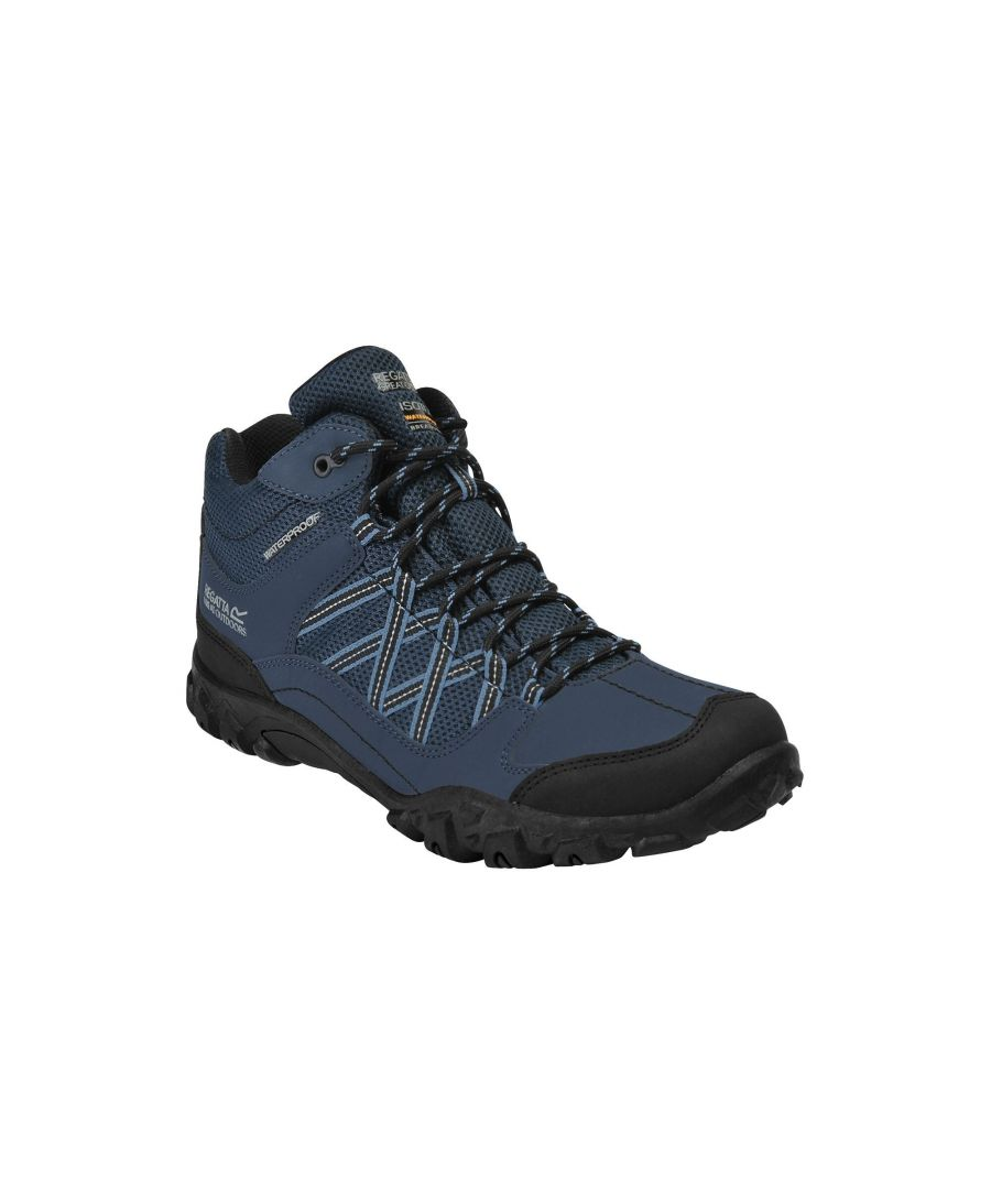 Image for Regatta Mens Edgepoint Mid Waterproof Hiking Shoes (Blue/Black)