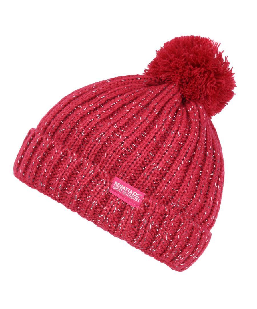 Image for Regatta Childs/Kids Unisex Luminosity III Reflective Bobble Hat (Dark Red)